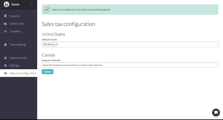 Sales tax Octobat setting